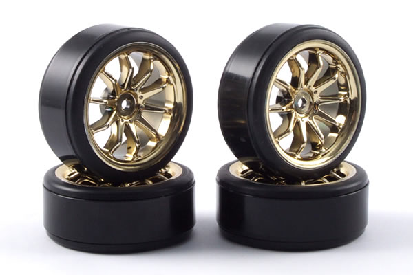 FAST0090G Fastrax 1/10th drift tires and wheels (4) 10 spoke gold, drift kola Fastrax