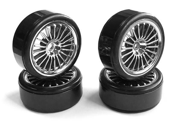 FAST0091C Fastrax 20-Spoke Drift Wheel & Tyre Set (4) - Chrome, Fastrax drift kola