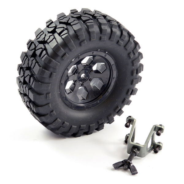 FTX OUTBACK SPARE TYRE MOUNT & TYRE/6 HEX WHEEL BLACK, FTX8249B
