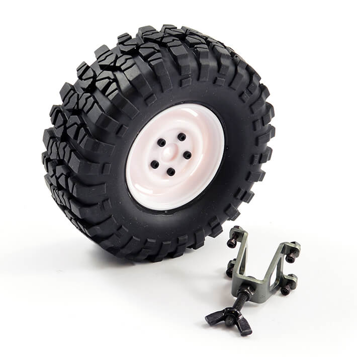 FTX OUTBACK SPARE TYRE MOUNT & TYRE/STEEL LUG WHEEL WHITE, FTX8250W