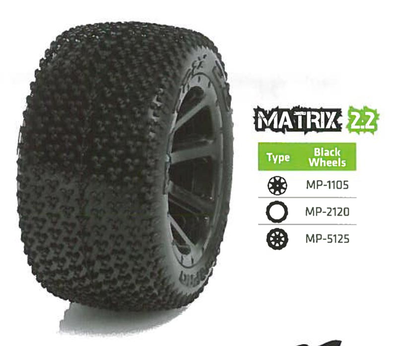 Medial Pro USA MP-5125 Tyre set (2) Matrix 2.2 Black, E-Revo 1/16, Traxxas 1/16
