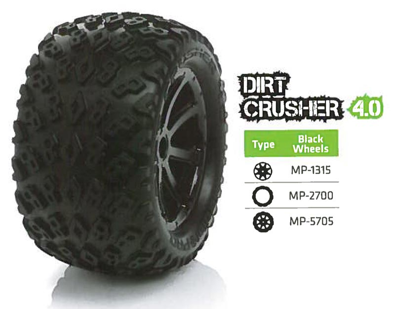 Medial Pro USA MP-5705 Tyre set (2) Dirt Crusher 4.0 Black 17mm hex, Summit, E-revo, MAXX 1/10