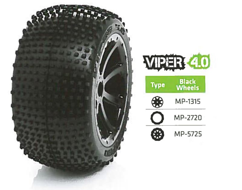 Medial Pro USA MP-5725 Tyre set (2) Viper 4.0 Black 17mm hex, Summit, E-revo, MAXX 1/10.