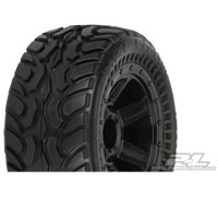 PL1071-11 Proline Dirt Hawg I Off-Road Tires Mounted on Desperado Black Wheels for 1:16 E-REVO