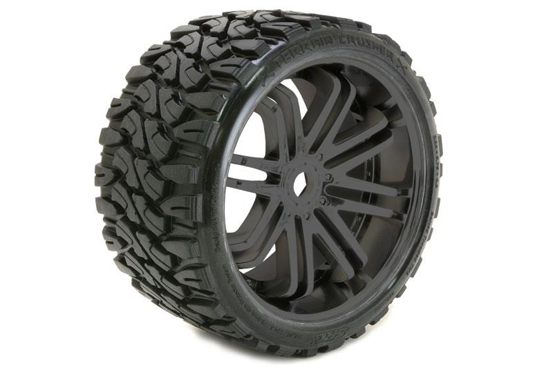 SRC Monster Truck Terrain Crusher Belted tire preglued on Black wheel 2pc set, SRC0002B